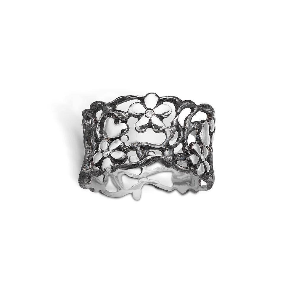 Blossom sølv oxideret bred gren ring med blomster, hjerter og grene, brill 0,01ct