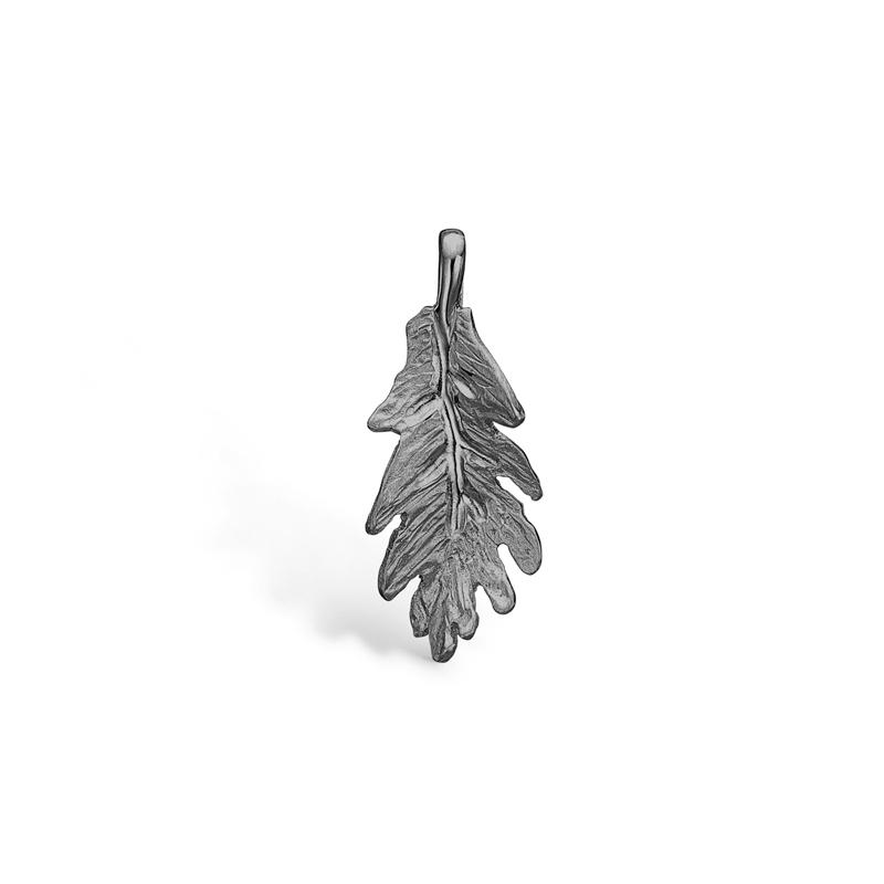 Image of   Blossom blad vedhæng i sort sølv 20 mm