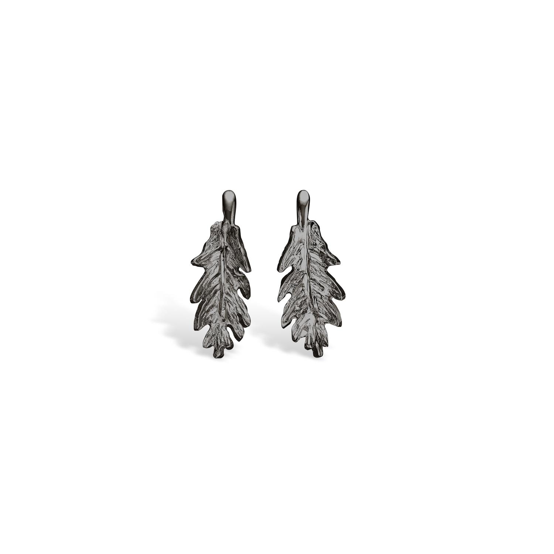 Image of   BLOSSOM sort sølv egeblad ørestikker