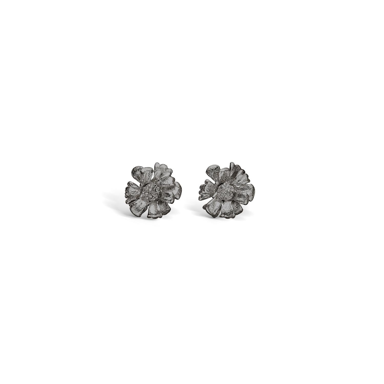 Image of   BLOSSOM små blomster ørestikker i sort sølv