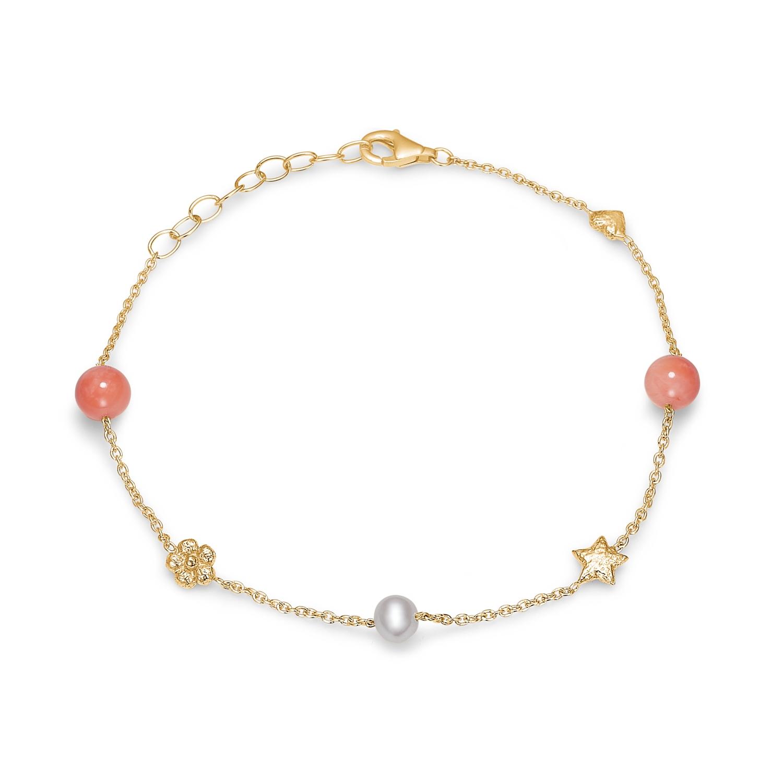 Blossom forgyldt armbånd med hvid perle og koraler
