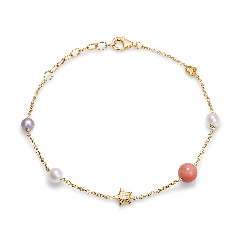 Blossom forgyldt armbånd med perler og koral