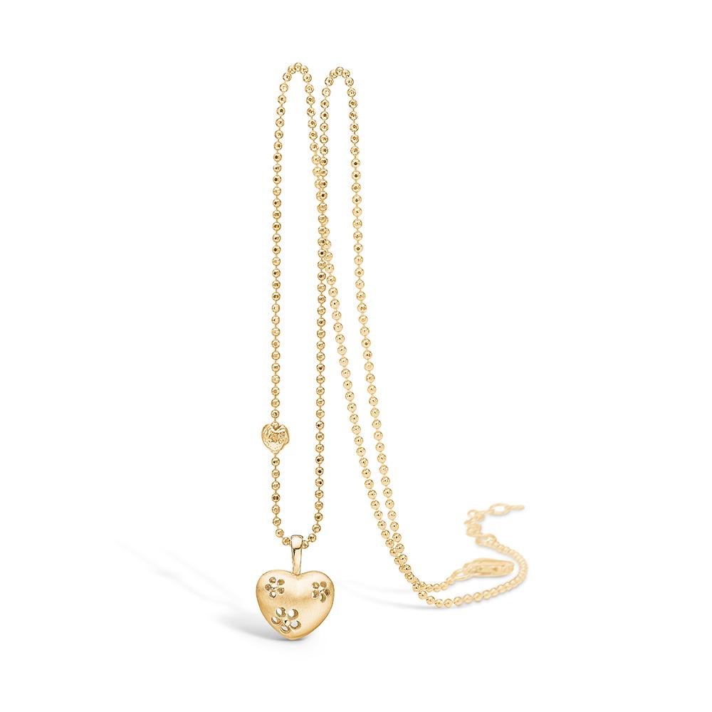 Blossom forgyldt hjerte vedhæng, halskæde 42+3 cm