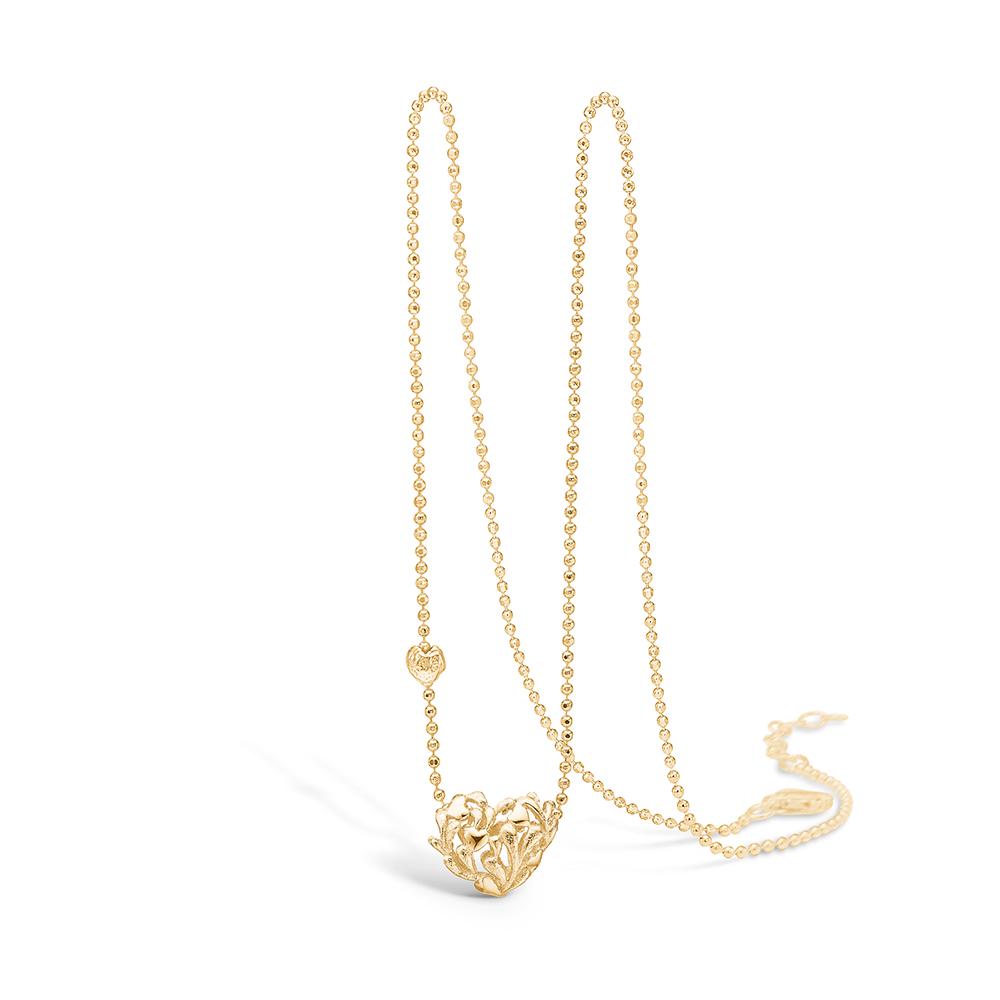 Image of   Blossom forgyldt hjerte halskæde med små hjerter og blade, 42+3 cm