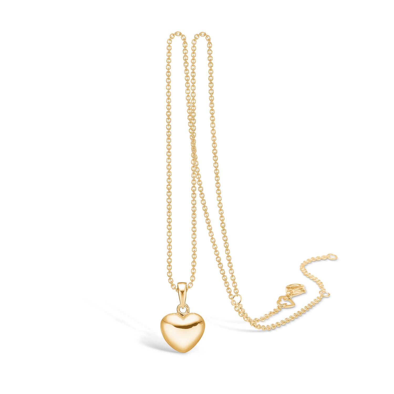 Image of   BLOSSOM blank forgyldt hjerte vedhæng på kæde, mellem størrelse