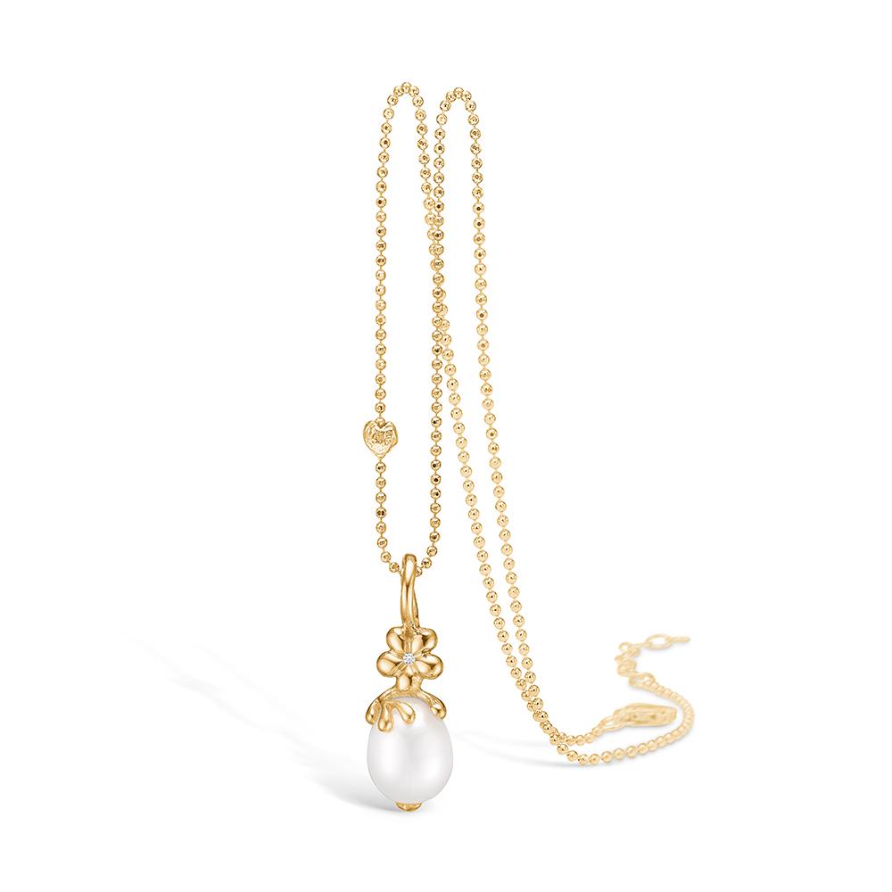 Blossom forgyldt perle vedhæng med 1 stk diamant 0,01 ct og FVP, halskæde 42+3 cm