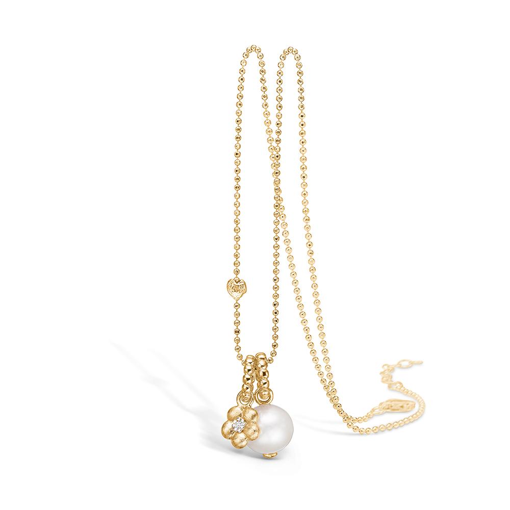 Image of   Blossom forgyldt halskæde med perle og blomster vedhæng, halskæde 80 cm