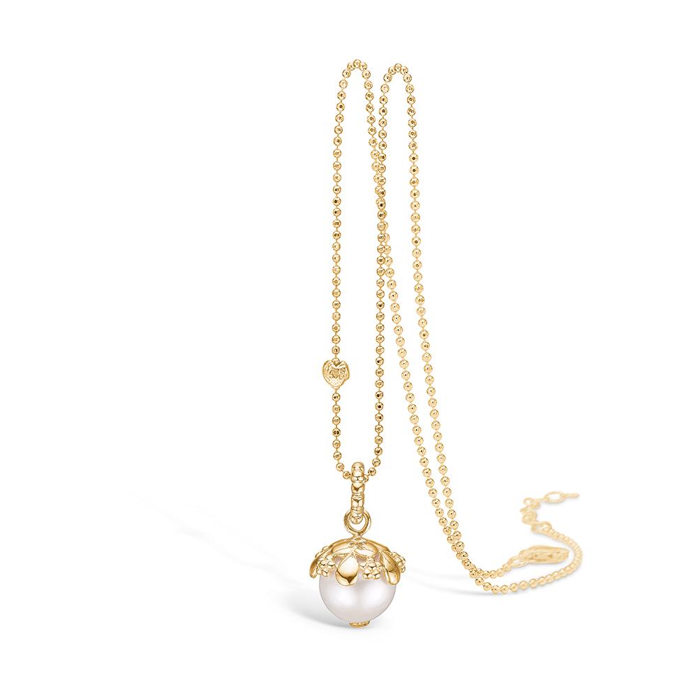 Image of   Blossom forgyldt perle vedhæng med hvid FVP, halskæde 80 cm