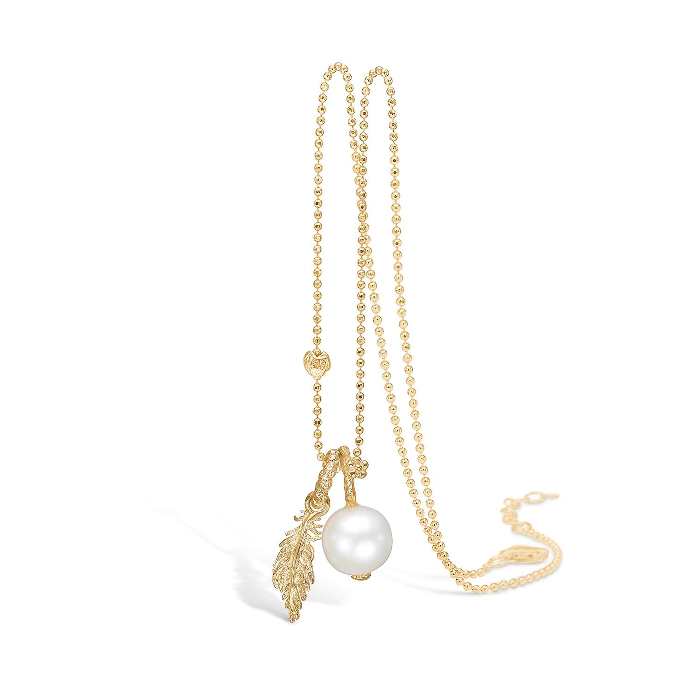 Image of   BLOSSOM forgyldt halskæde med perle og fjer vedhæng, 80 cm
