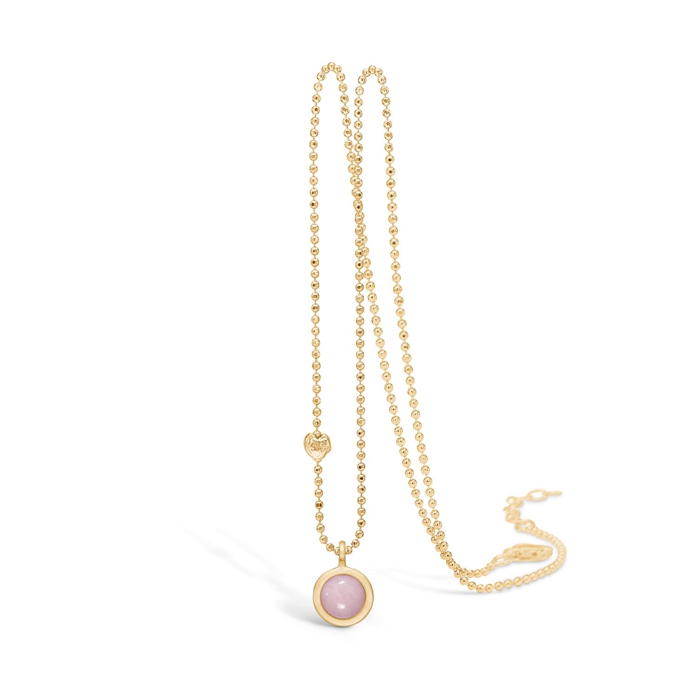 Image of   Blossom halskæde i forgyldt med pink opal vedhæng, 45 cm