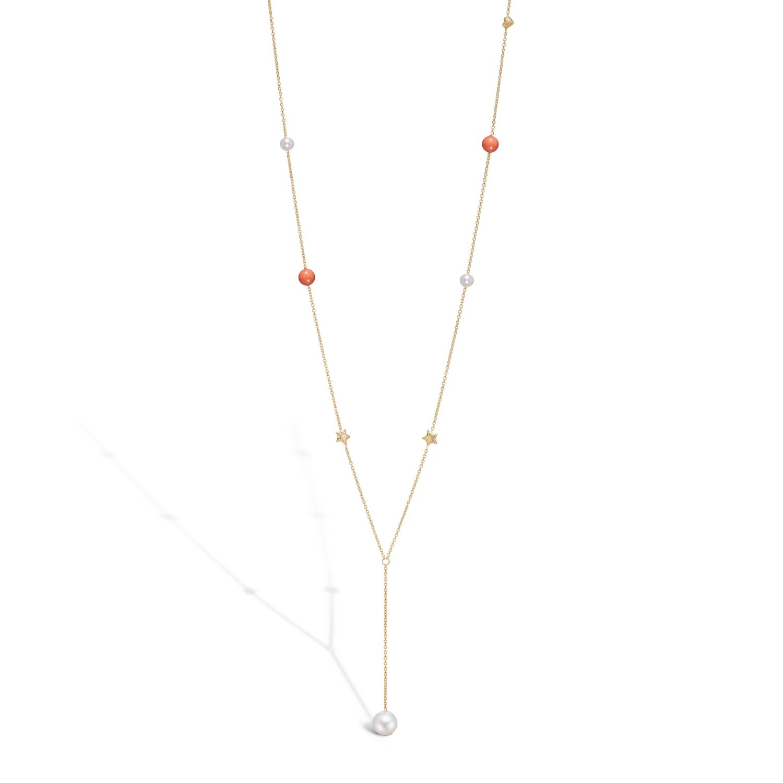 Image of   BLOSSOM lang halskæde i forgyldt med hjerter, stjerner, perler og koraler