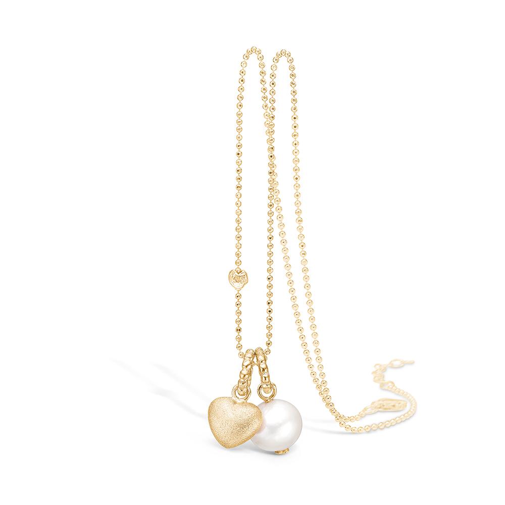 Image of   Blossom forgyldt halskæde med hvid perle og mat hjerte vedhæng, 80 cm