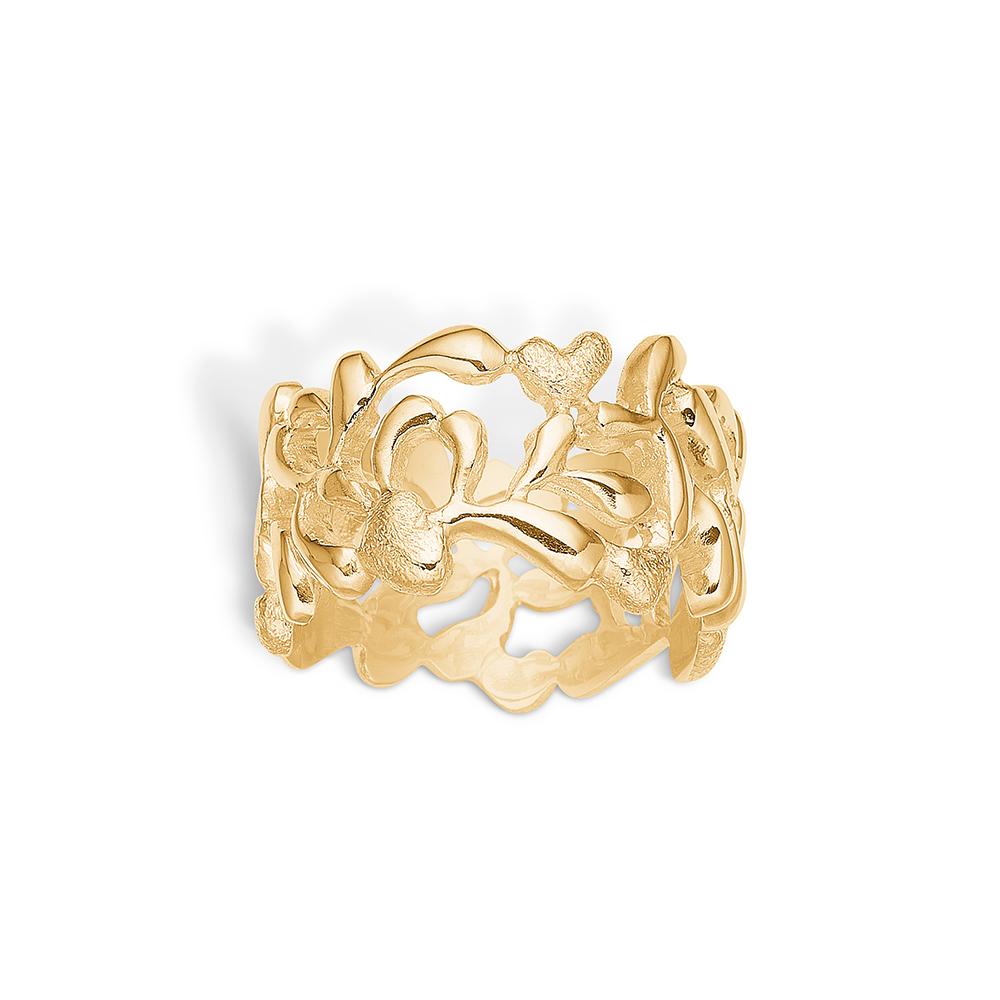 Image of   Blossom forgyldt hjerte mønster ring bred model rhod. mat/blank