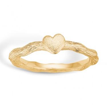 Image of   Blossom sølv ring forgyldt mat hjerte