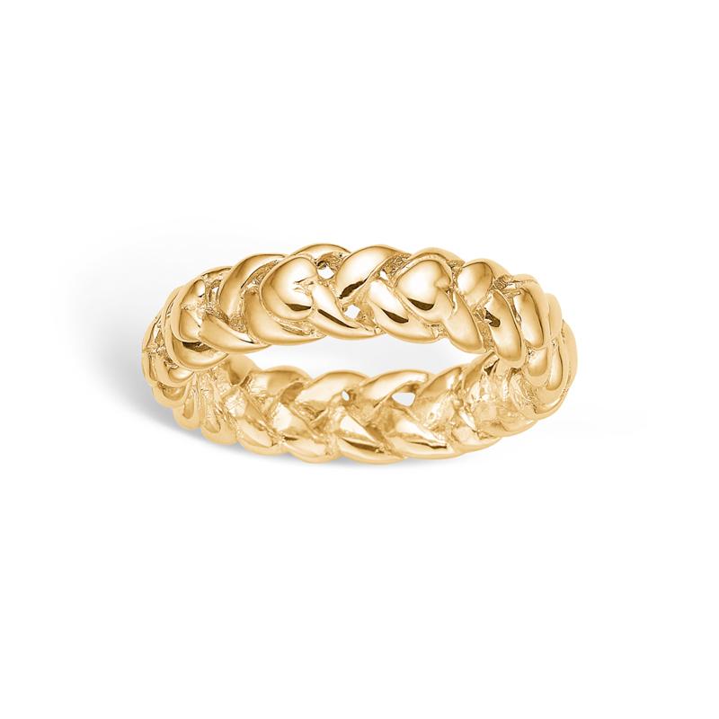 Image of   Blossom ring i forgyldt med hjerter
