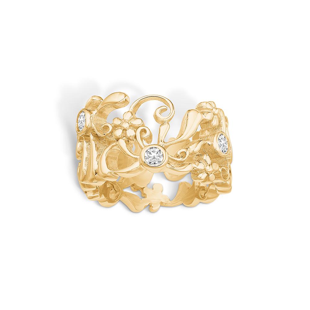Image of   Blossom forgyldt blomster ring med cz, bred model