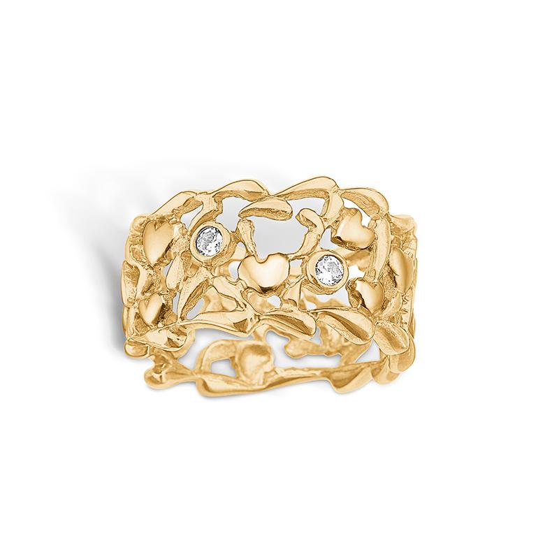 Image of   Blossom forgyldt bred ring med hjerter, blade og cz