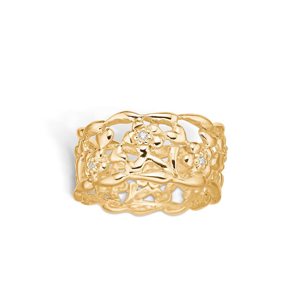 Image of   Blossom forgyldt ring med blomster og cz, bred model