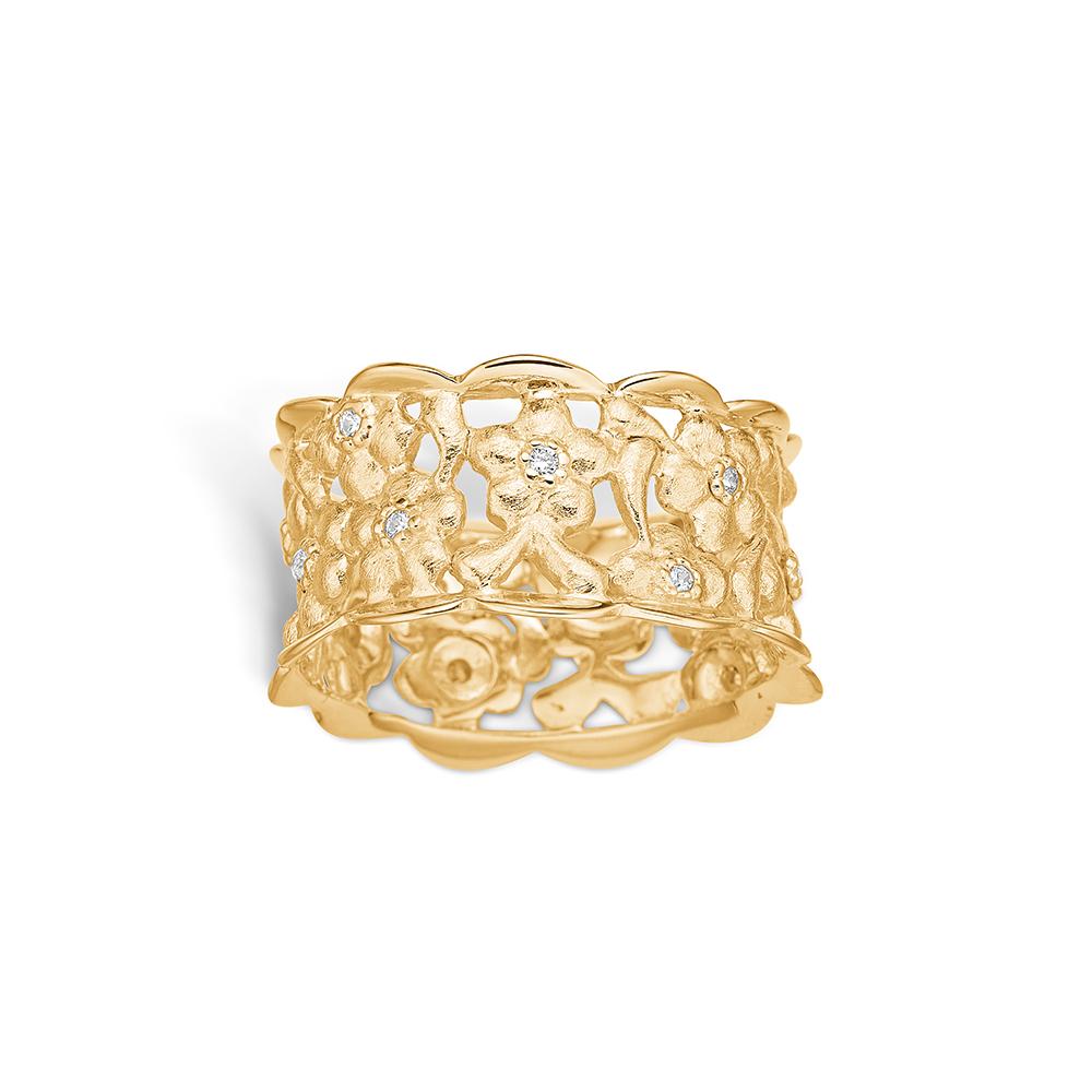 Image of   Blossom forgyldt ring med mat børstet blomster og cz, bred model