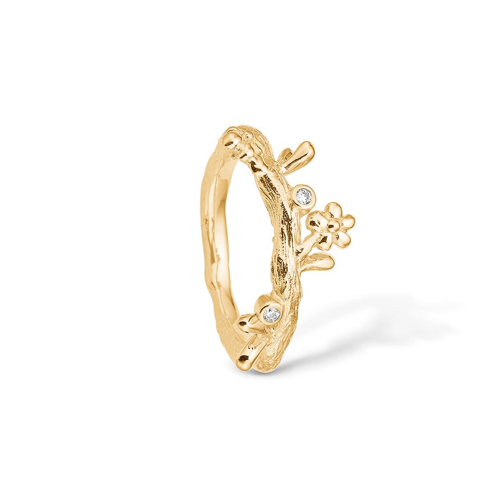 Image of   Blossom forgyldt ring, gren med blomster og cz