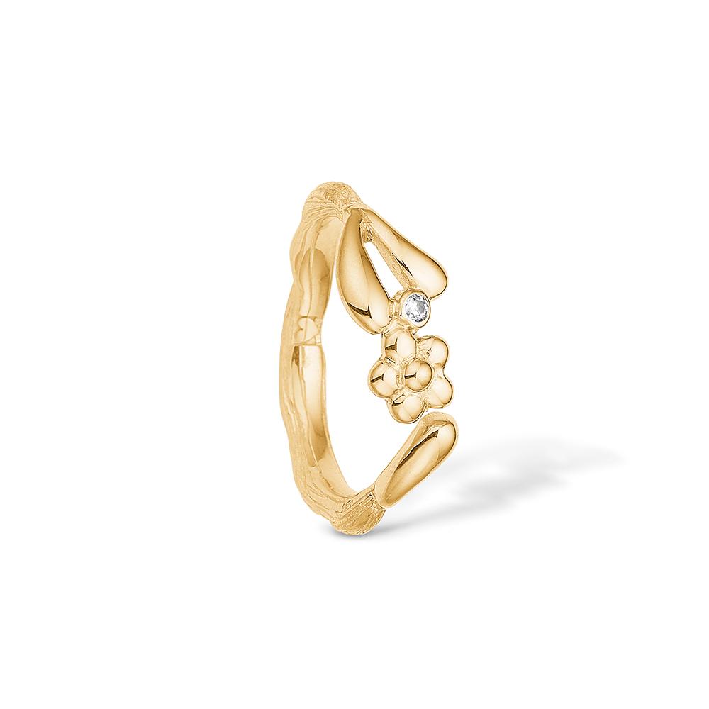 Image of   Blossom sølv ring forgyldt blank mat CZ