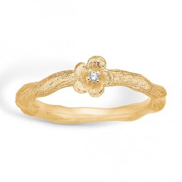 Image of   Blossom sølv ring forgyldt mat blomst CZ
