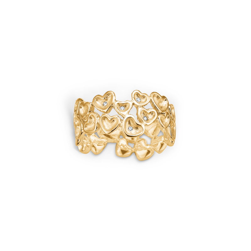 Image of   Blossom ring i forgyldt med hjerter og cz, bred model