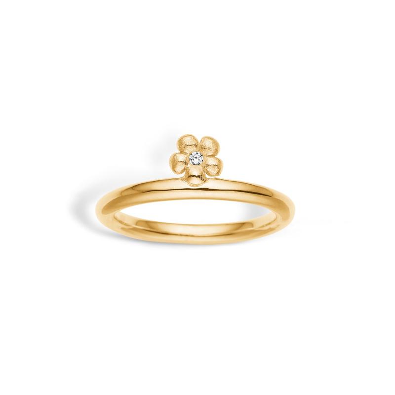 Image of   Blossom blank forgyldt ring med blomst og cubic zirkonia