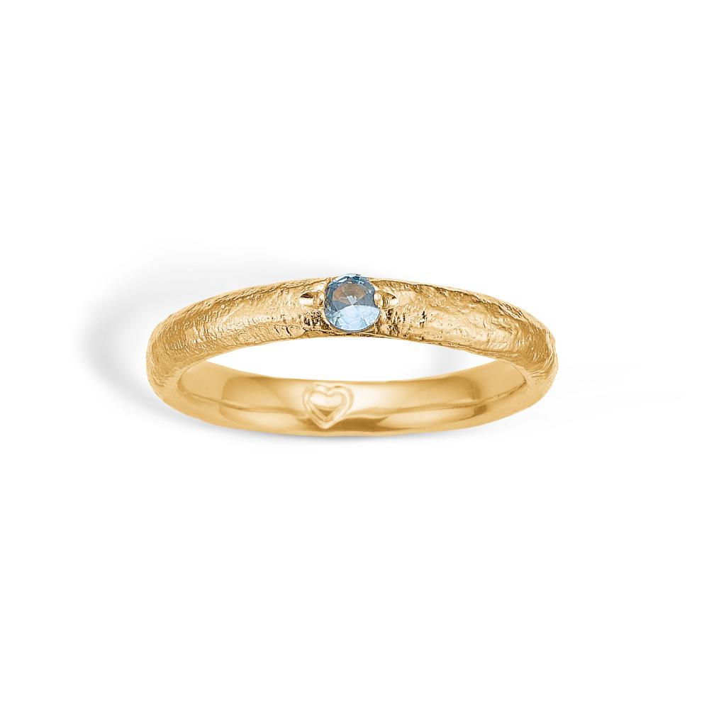 Image of   Blossom forgyldt ring med akvamarin