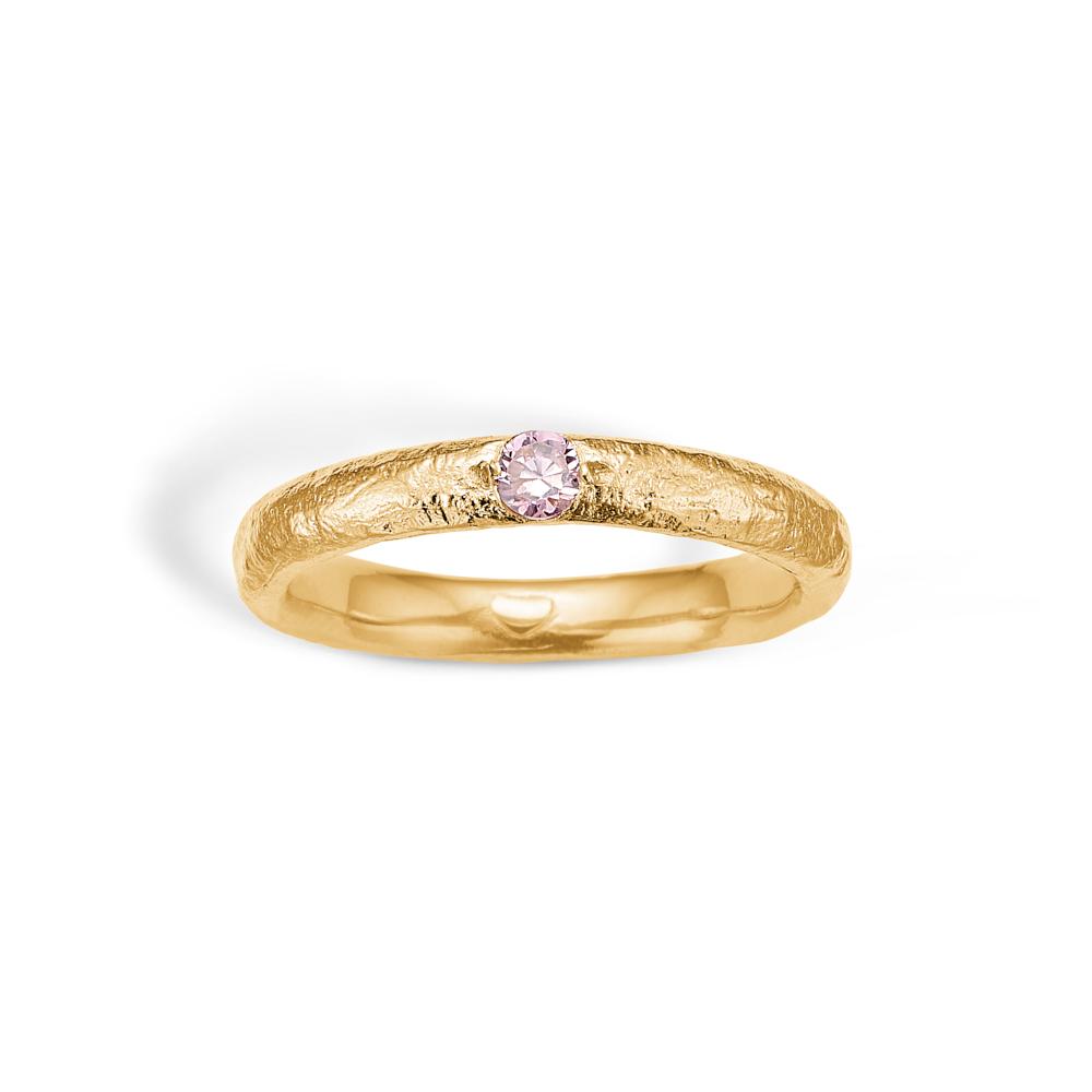 Image of   Blossom forgyldt ring med pink cz
