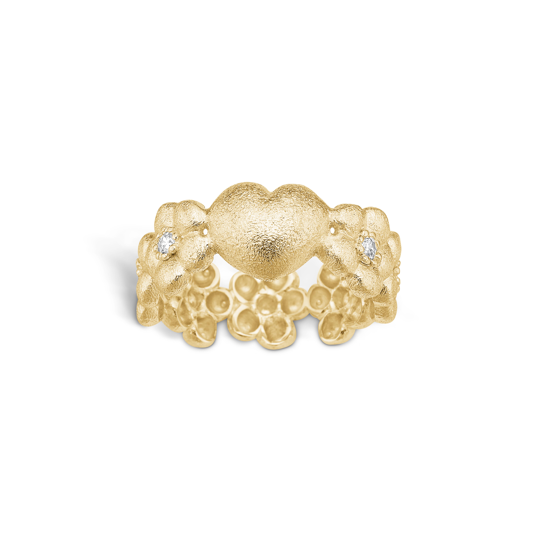 Image of   Blossom forgyldt blomster ring med 1 stk hjerte rhod. mat hamret