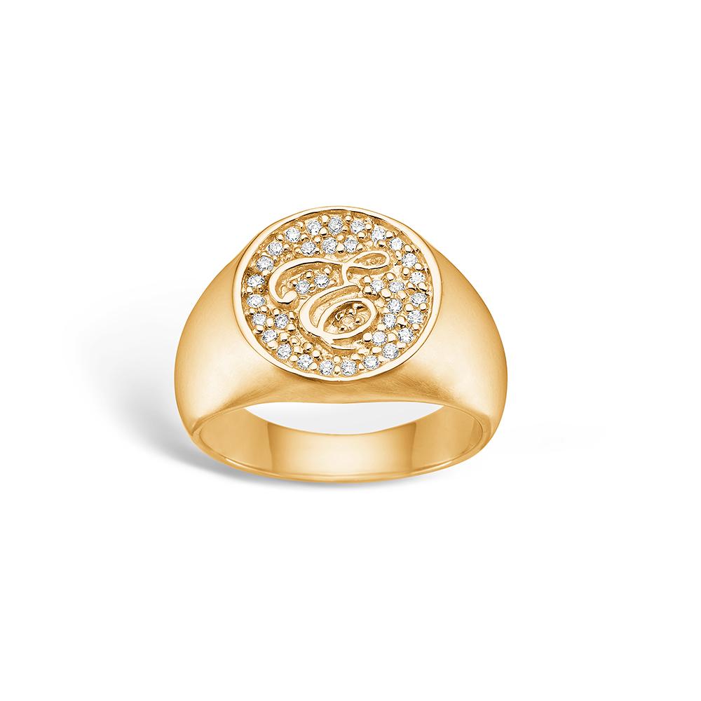 E-Signature sølv ring forgyldt 'e-signet' blank hvid CZ