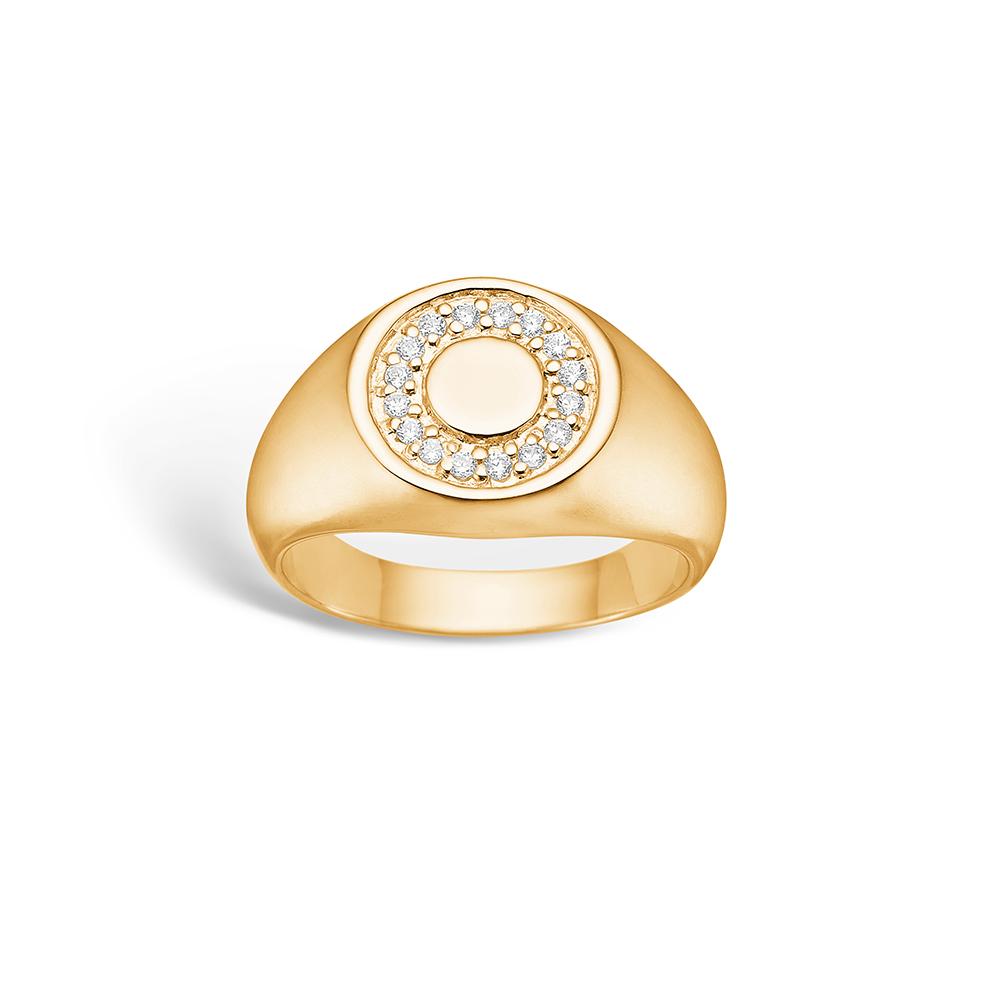 E-Signature sølv ring forgyldt 'signet' blank hvid CZ