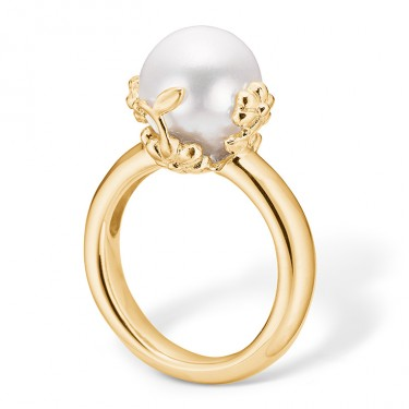 Image of   Blossom sølv ring forgyldt blank hvid FVP