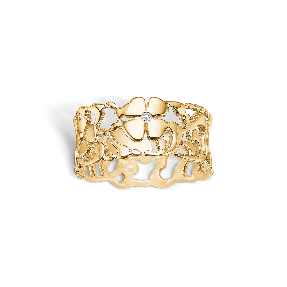 Blossom forgyldt ring med blomster 1 stk diamant 0,01 ct., bred model
