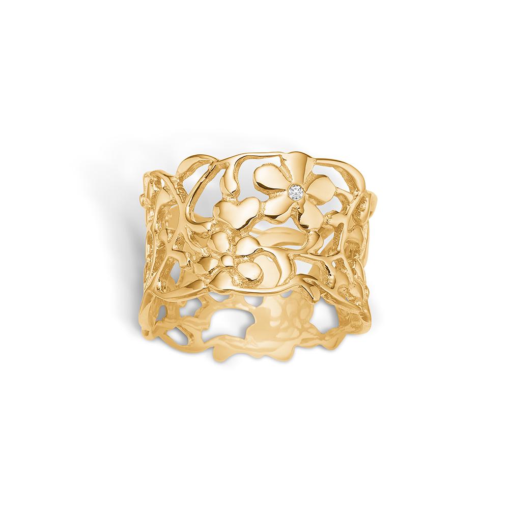 Image of   Blossom ring i forgyldt sølv, bred blomsterring med diamanter