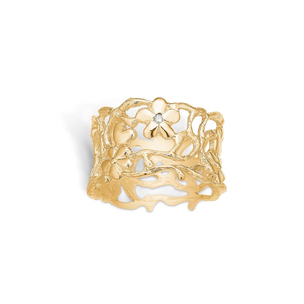 Blossom forgyldt ring med blomster, hjerter og 1 stk diamant 0,01 ct., bred model