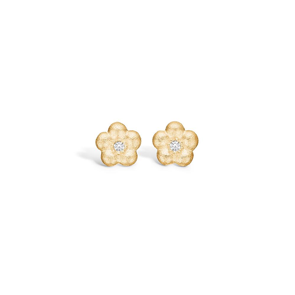 Image of   Blossom forgyldte blomster ørestikker, mat hamret med hvide cz