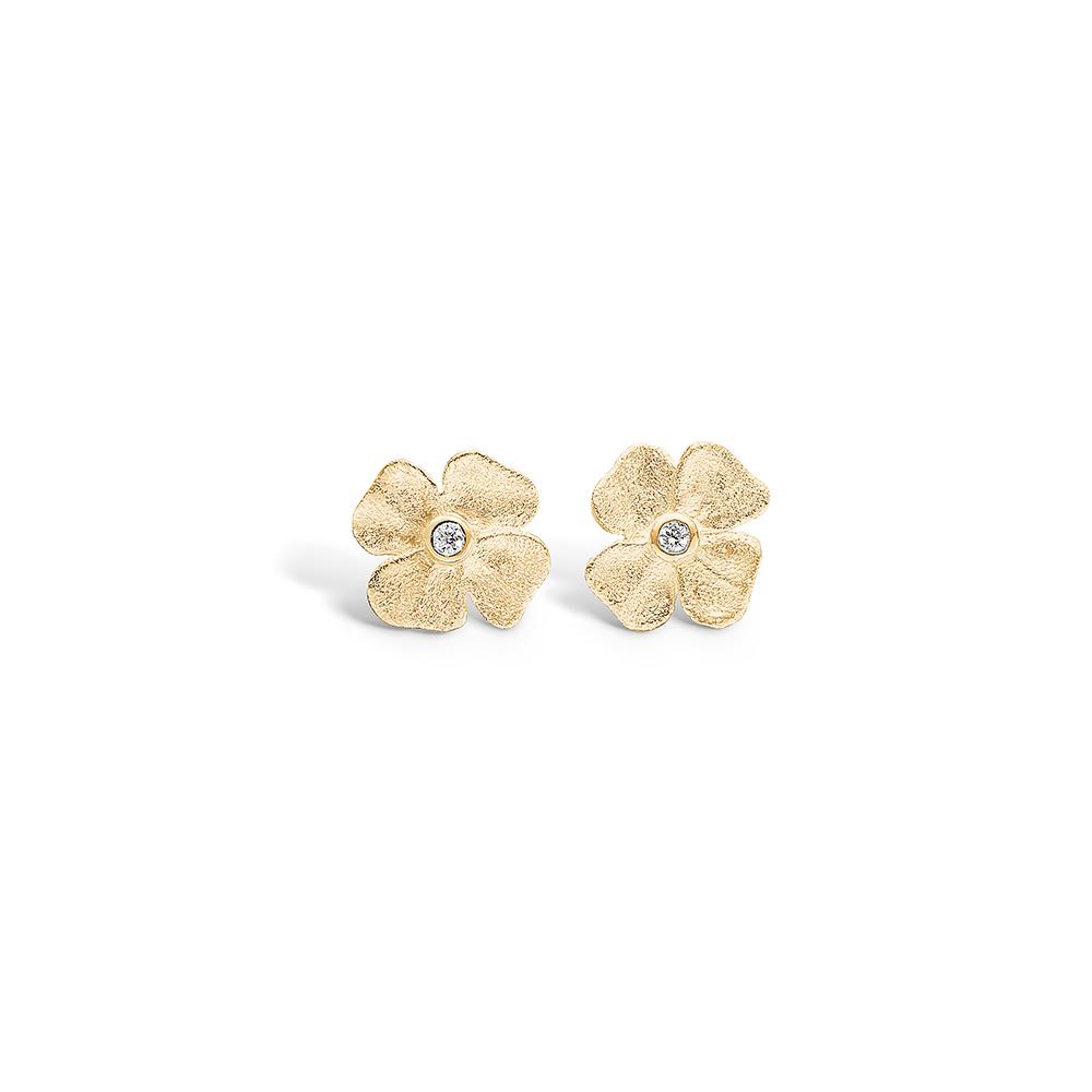 Image of   Blossom forgyldte blomster ørestikker med 4 blade med cz