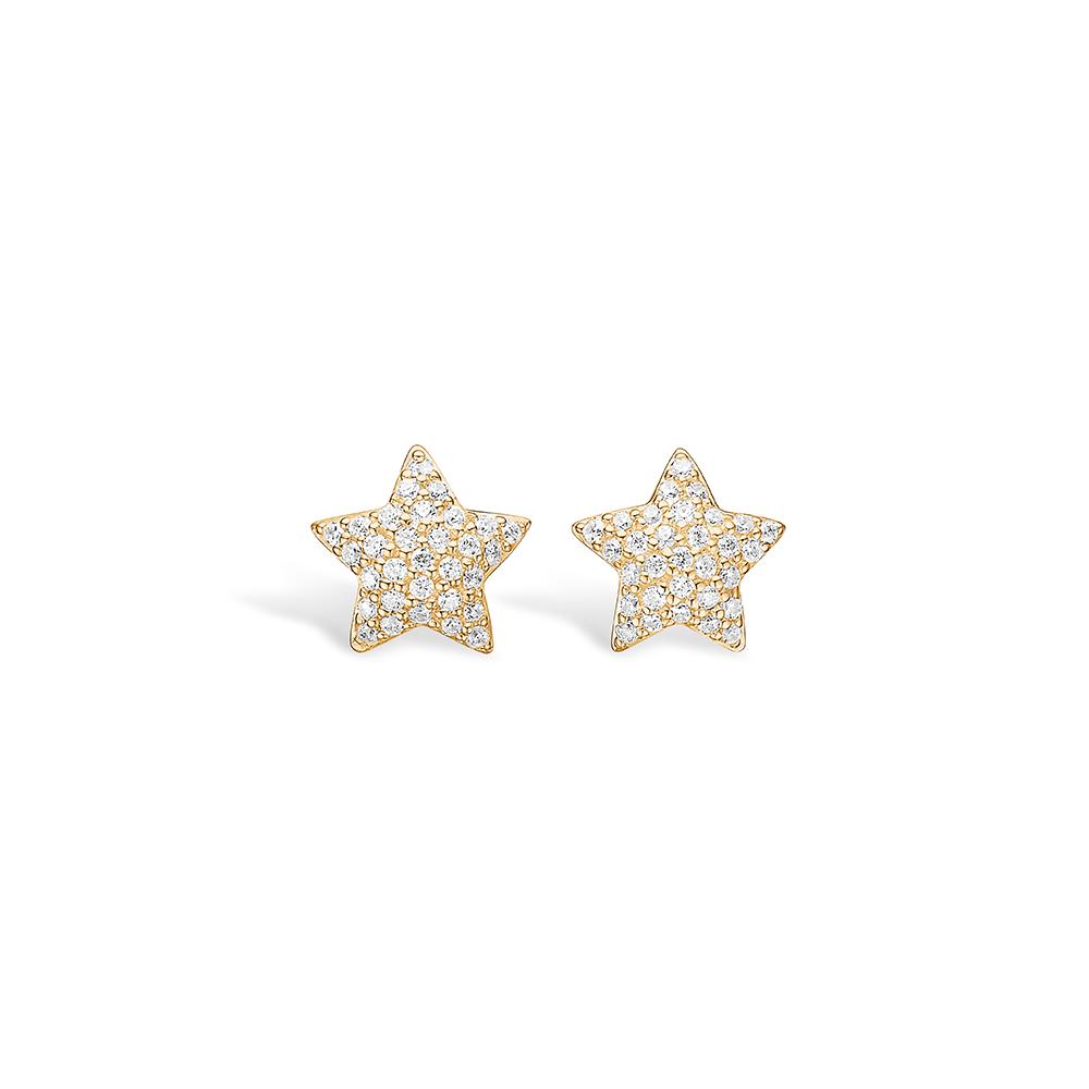 E-Signature forgyldte stjerne ørestikker paveret med hvide cz