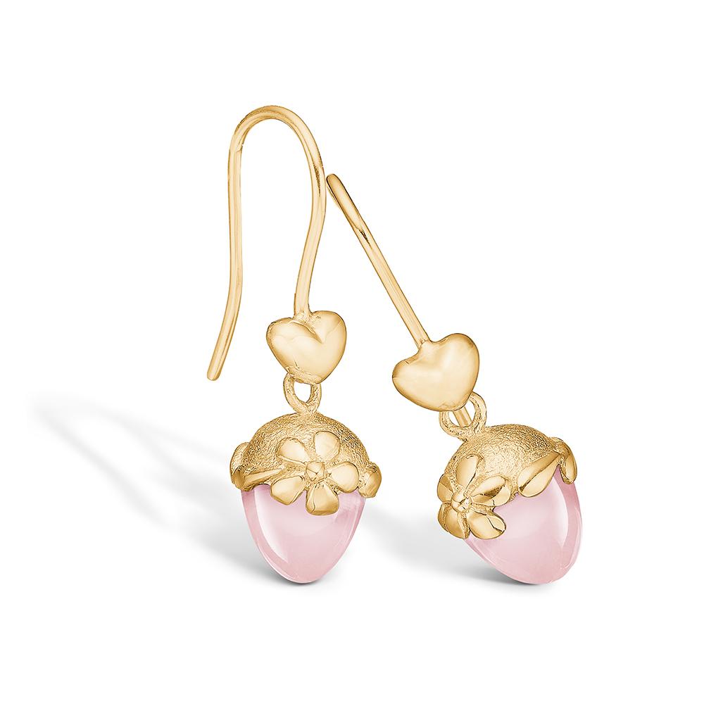 Image of   Blossom forgyldte hjerte ørehænger med rosakvarts