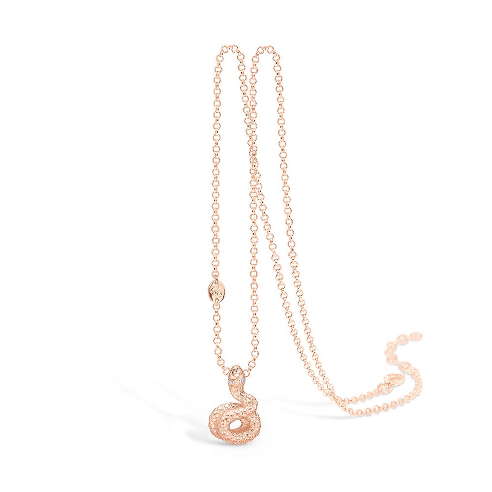 E-Signature rosaforgyldt slange vedhæng med cz, halskæde 42+3 cm