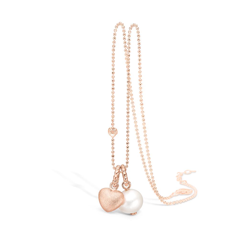 Image of   Blossom rosaforgyldt halskæde med perle og hjerte vedhæng, 80 cm
