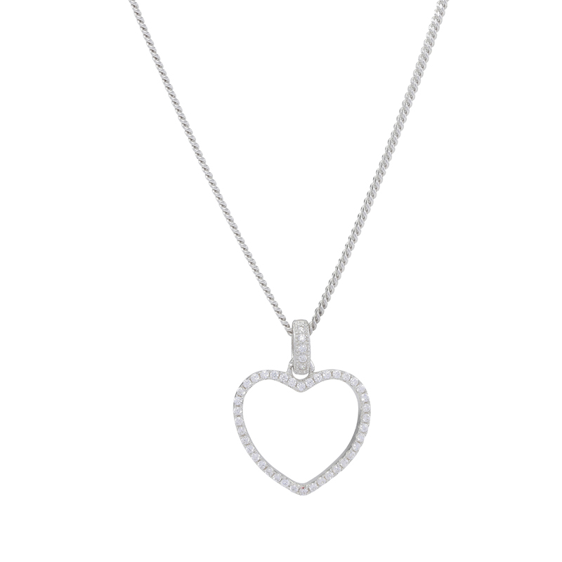 Joanli Aida sølv halskæde med stor hjerte, 42+3 cm kæde