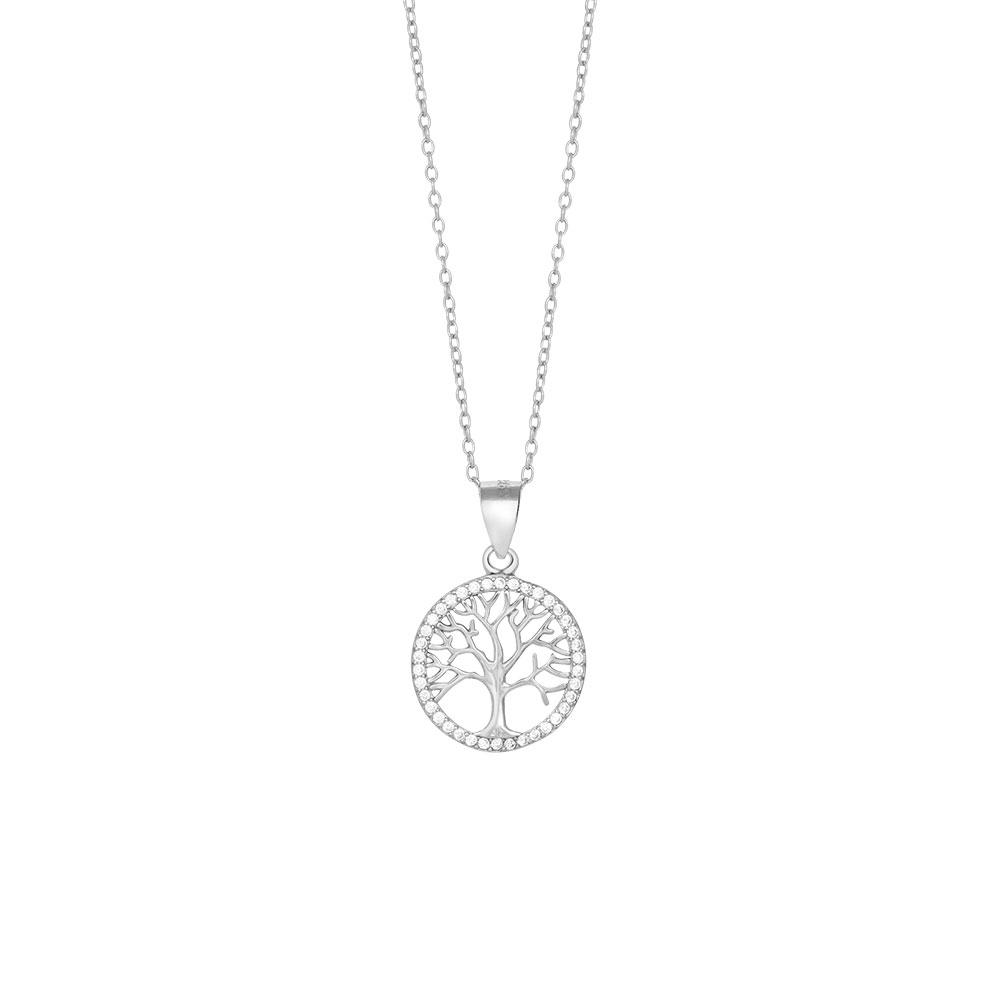 Joanli Caia sølv halskæde med livets træ, 42+3 cm kæde