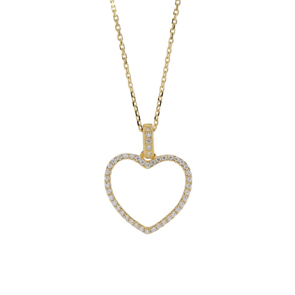 Joanli Aida forgyldt halskæde med stor hjerte, 42+3 cm kæde