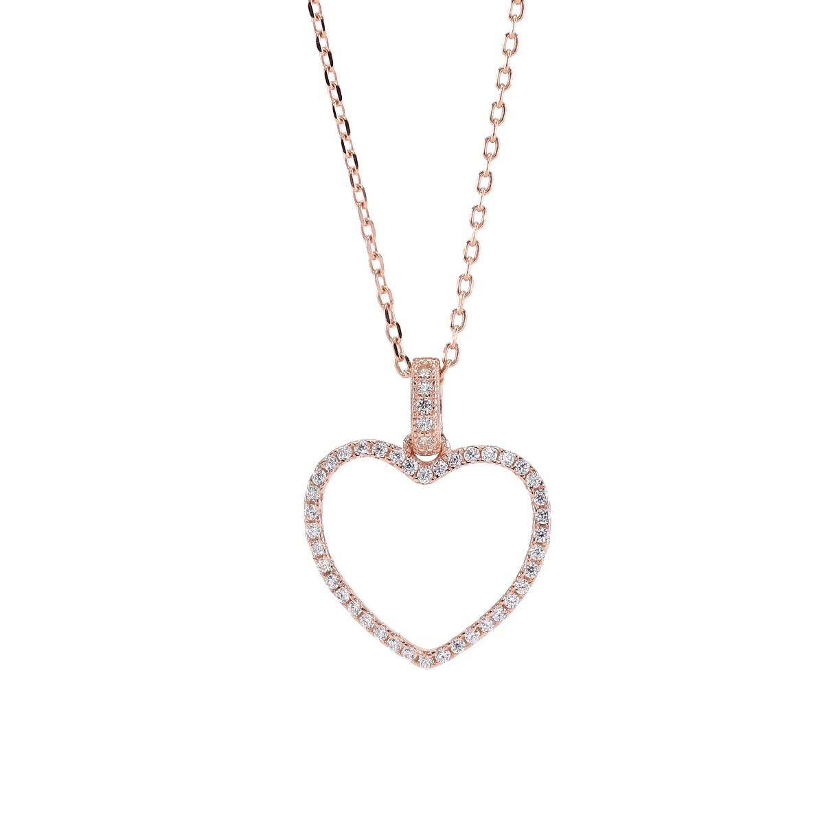 Image of   Joanli Aida rosaforgyldt halskæde med stor hjerte, 42+3 cm kæde