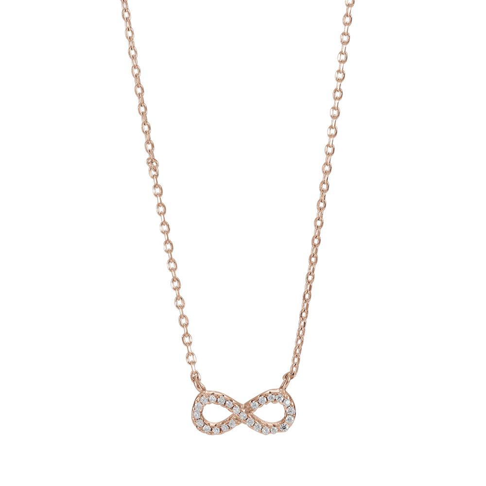 Image of   Joanli Agna rosaforgyldt halskæde med uendelighedstegn, 42+3 cm kæde
