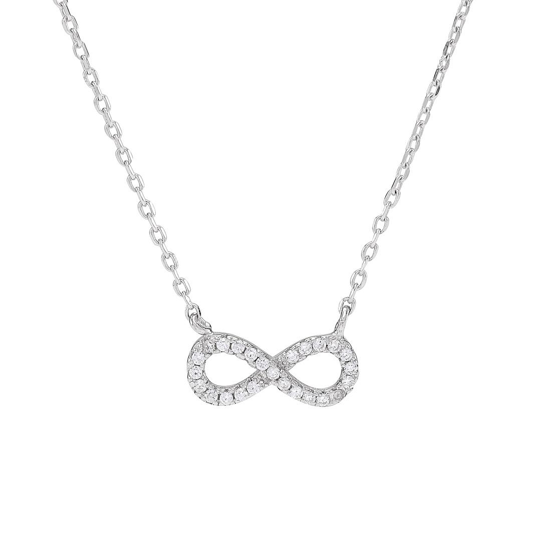Image of   Joanli Agna sølv halskæde med uendelighedstegn, 42+3 cm kæde
