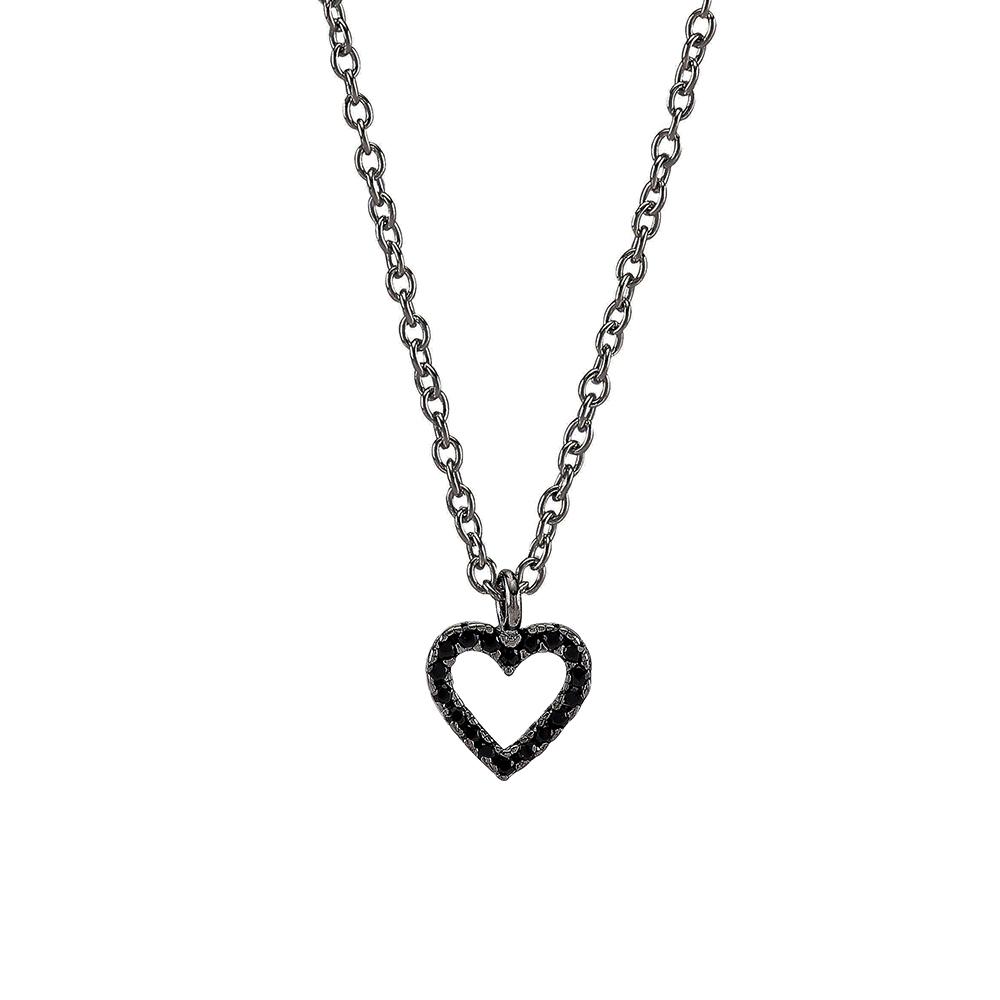 Joanli Aida sort sølv halskæde med lille hjerte, 42+3 cm kæde